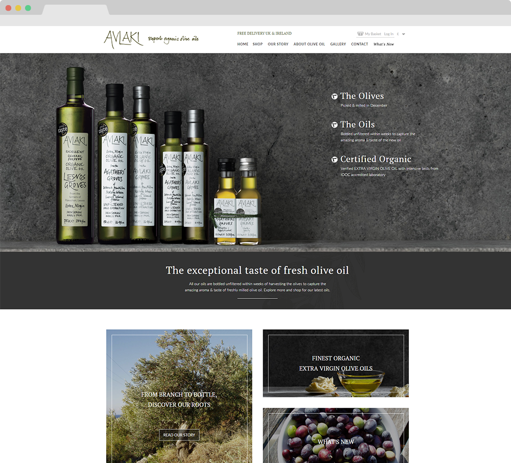 Avlaki Olive Oils website