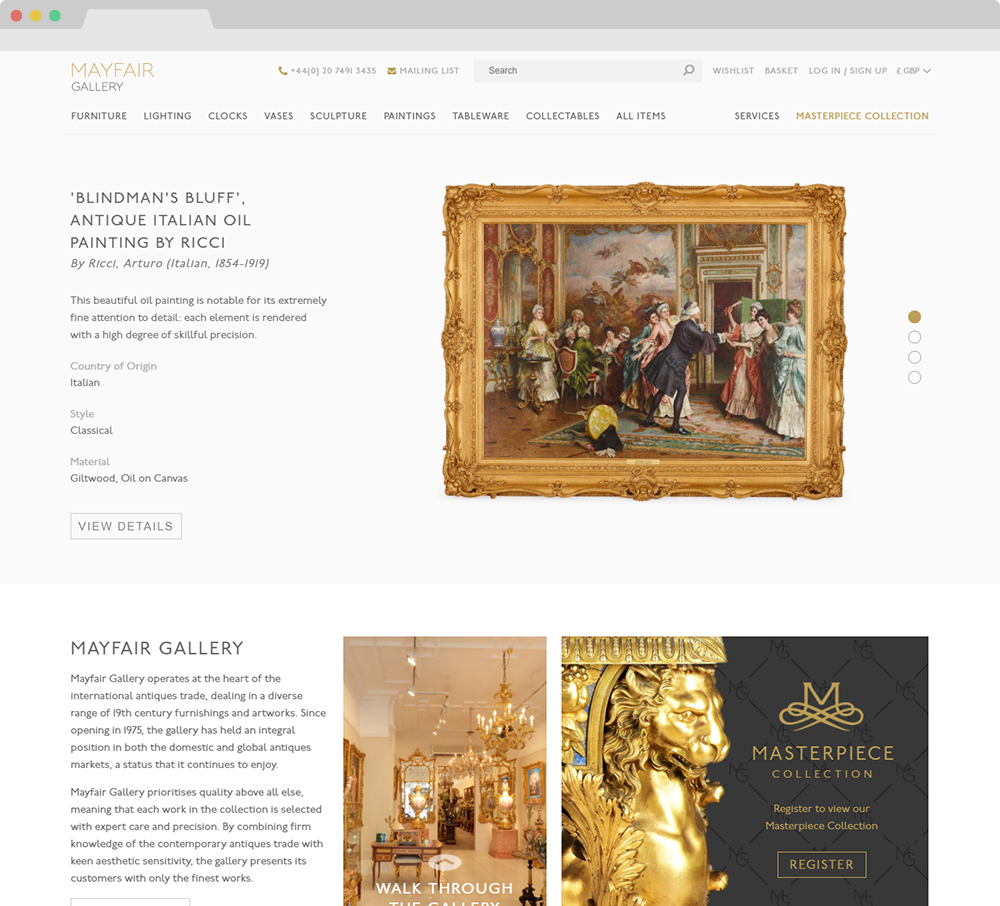 Mayfair Gallery website